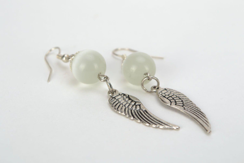 Earrings with cat's eye Wings photo 5