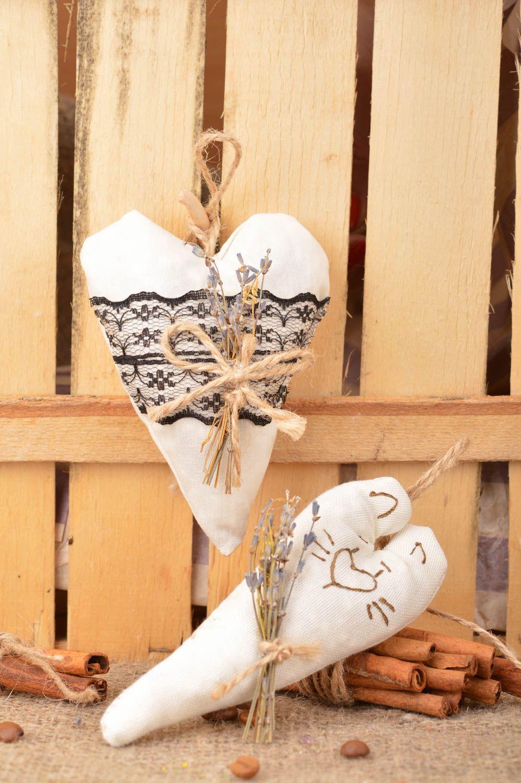 Set of 2 handmade decorative heart shaped fabric wall hanging sachet pillows  photo 1