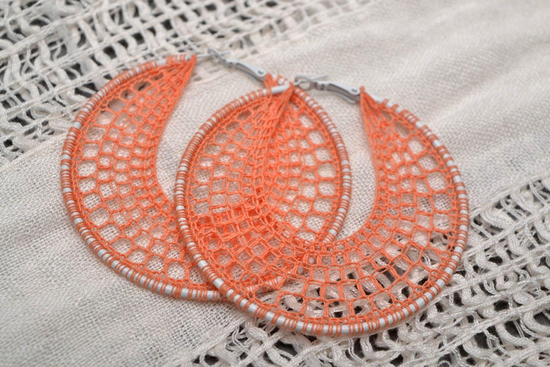 Handmade crocheted jewelry Orange photo 1