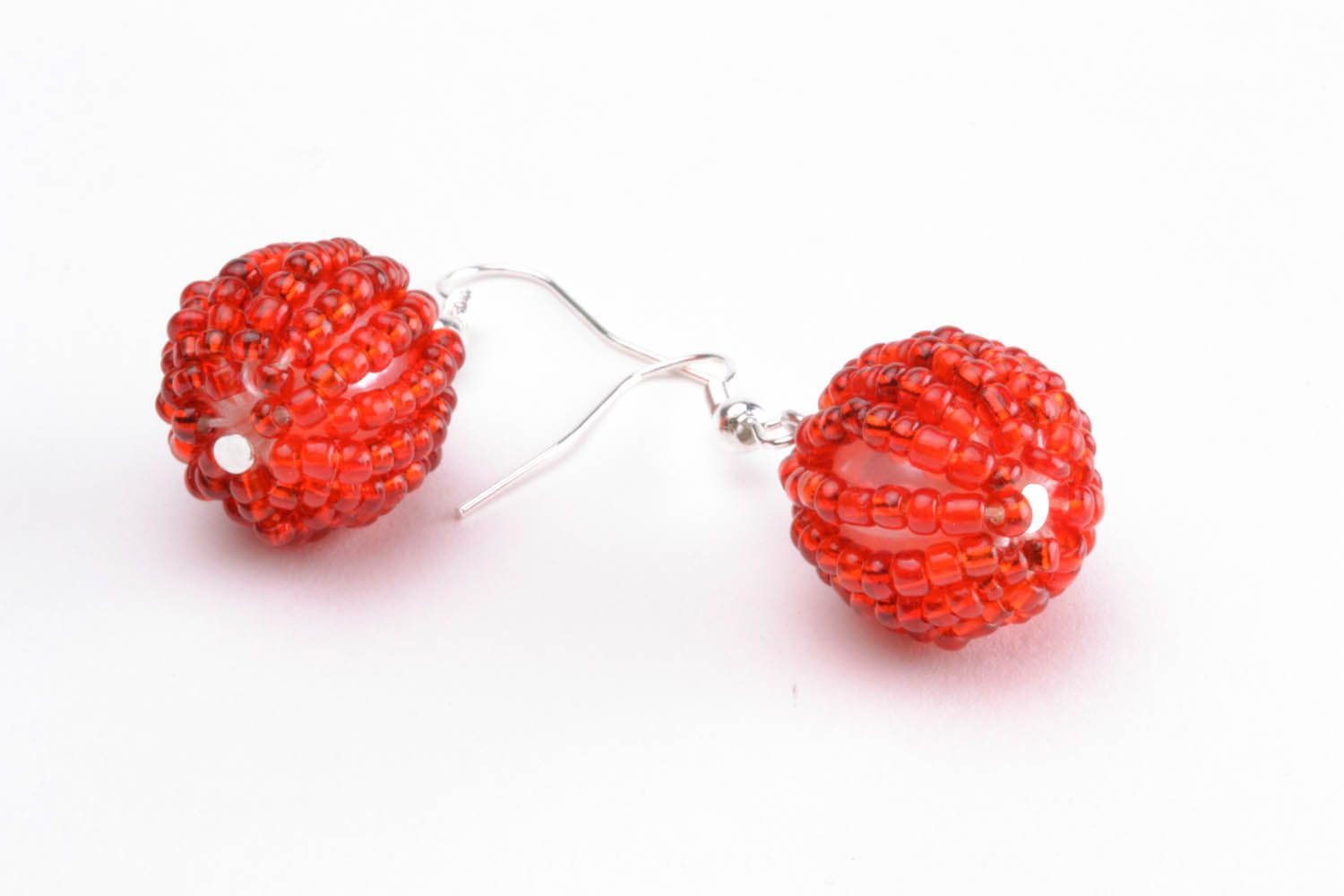 Earrings with red beads photo 3