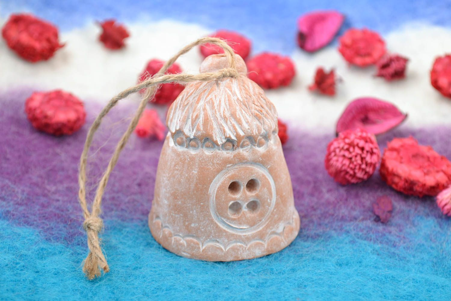 Handmade small decorative wall hanging ceramic bell in the shape of house photo 1