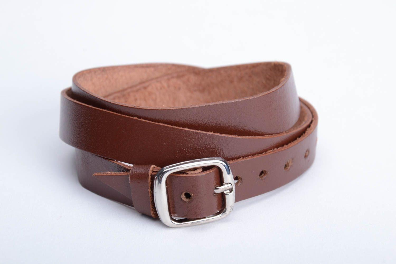 Breites braunes Armband aus Leder handmade originelles regulierbar unisex foto 5