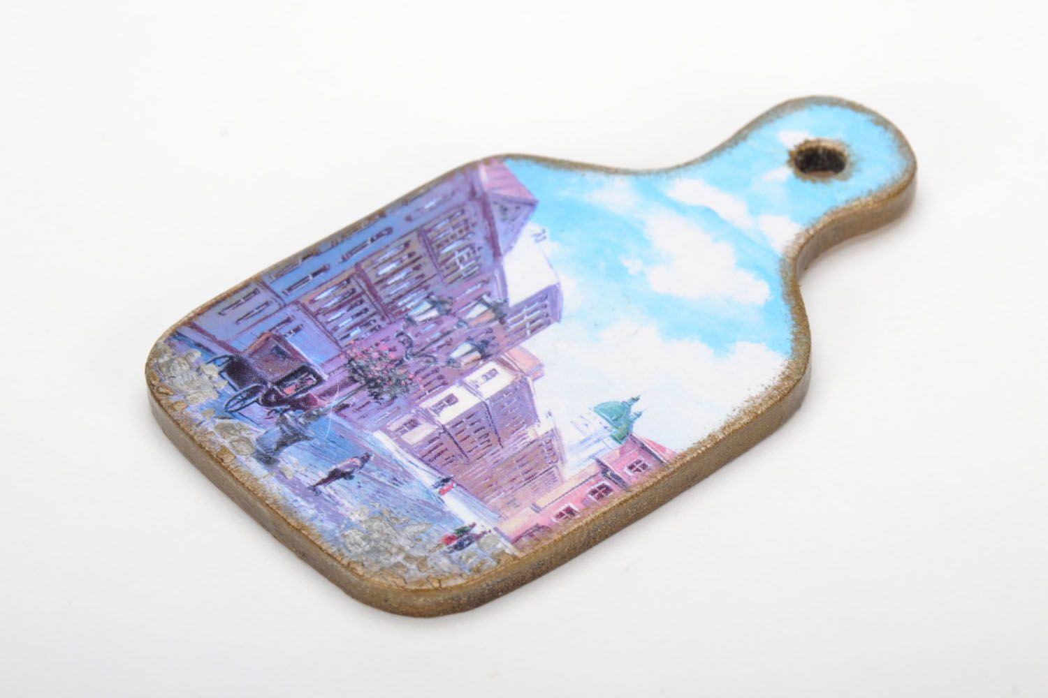 Wooden fridge magnet Street photo 3