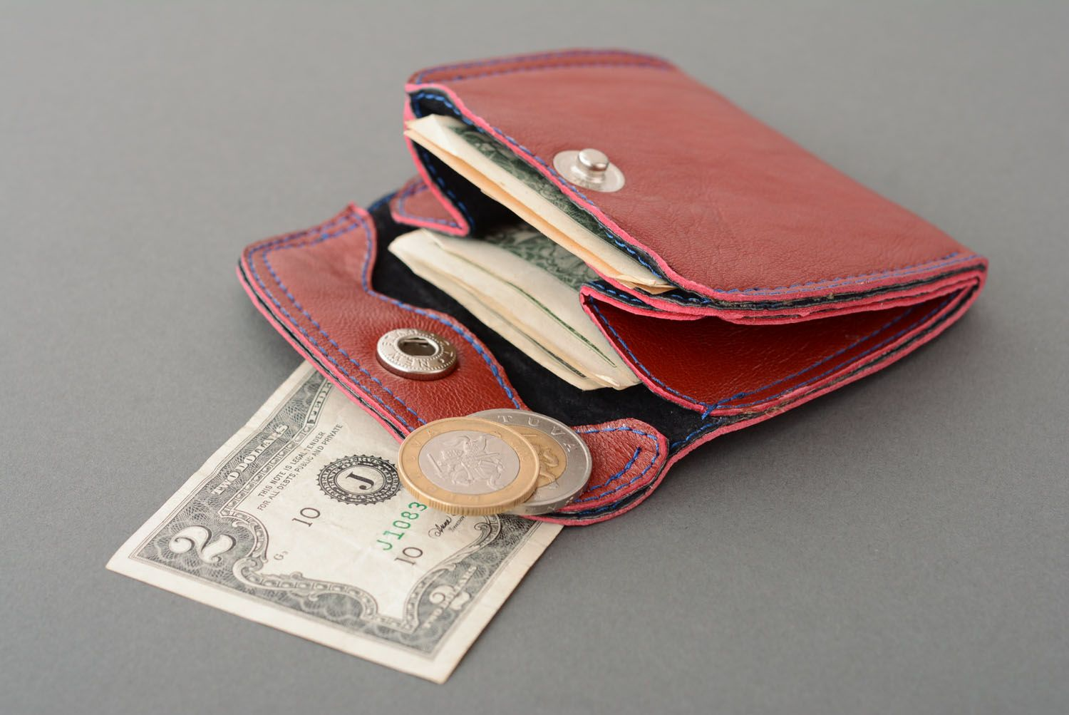 Leather wallet for coins photo 1