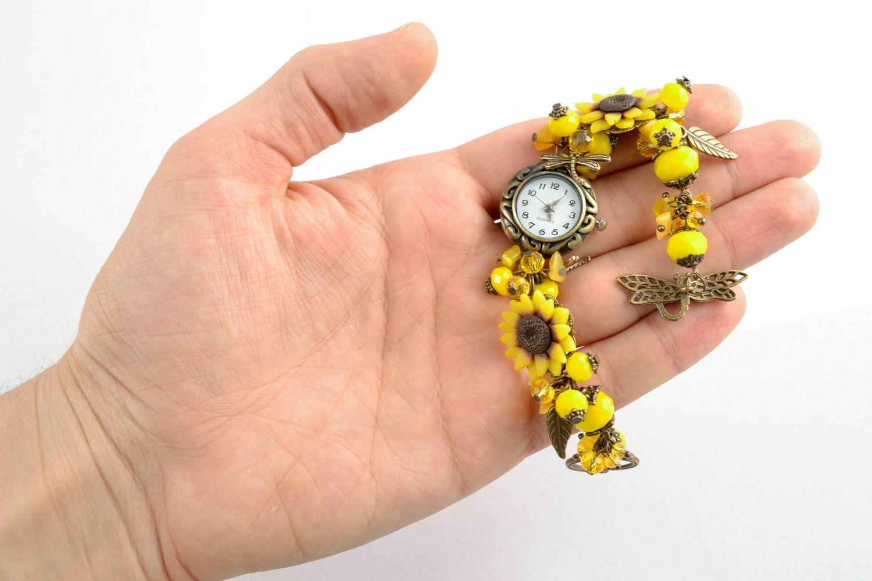 Reloj de autor de arcilla polimérica Amarillo  foto 4