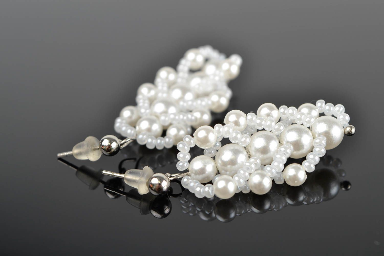 Handmade beaded earrings designer stylish jewelry unique bijouterie for woman photo 1