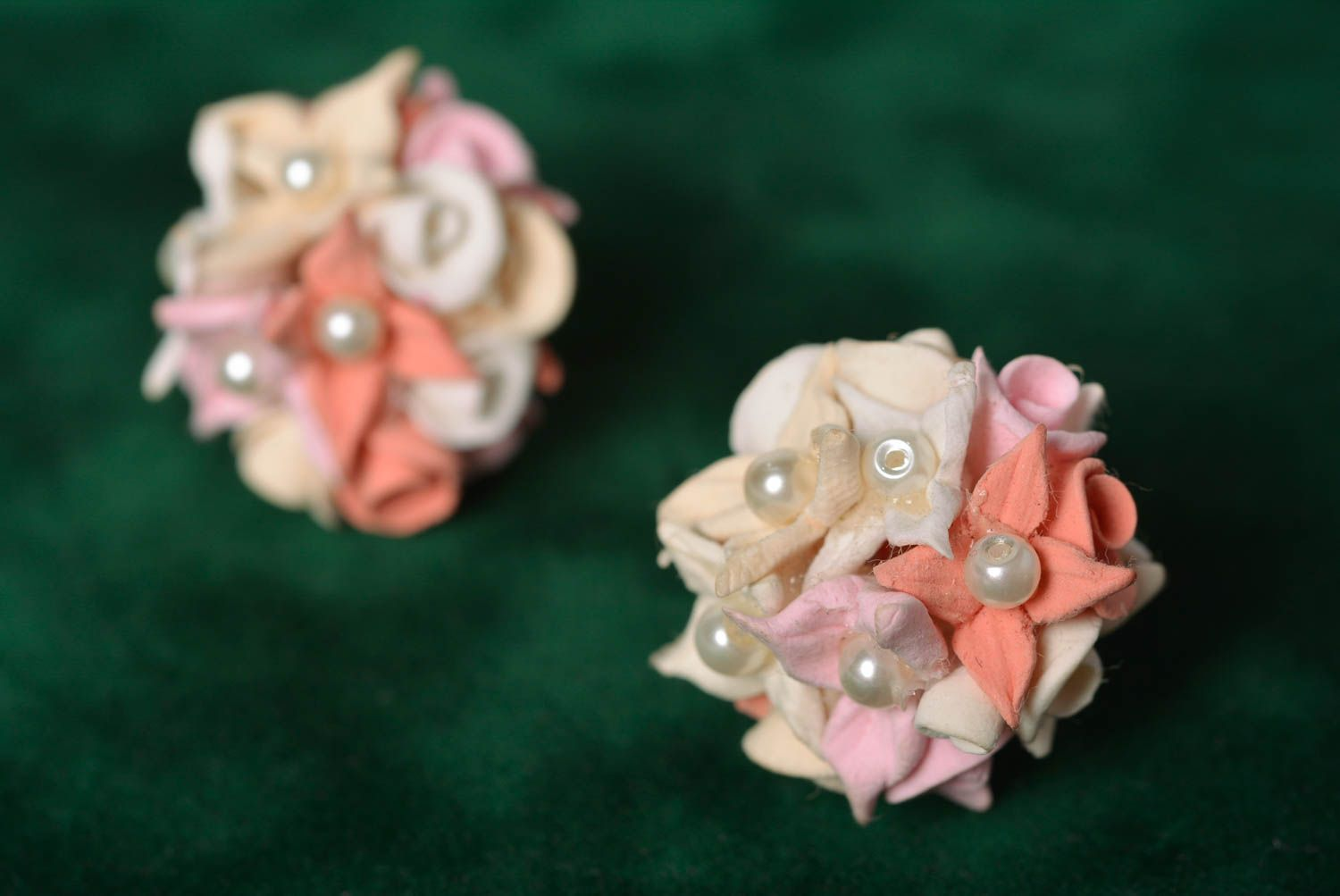 Handmade designer tender floral stud earrings molded of polymer clay photo 1