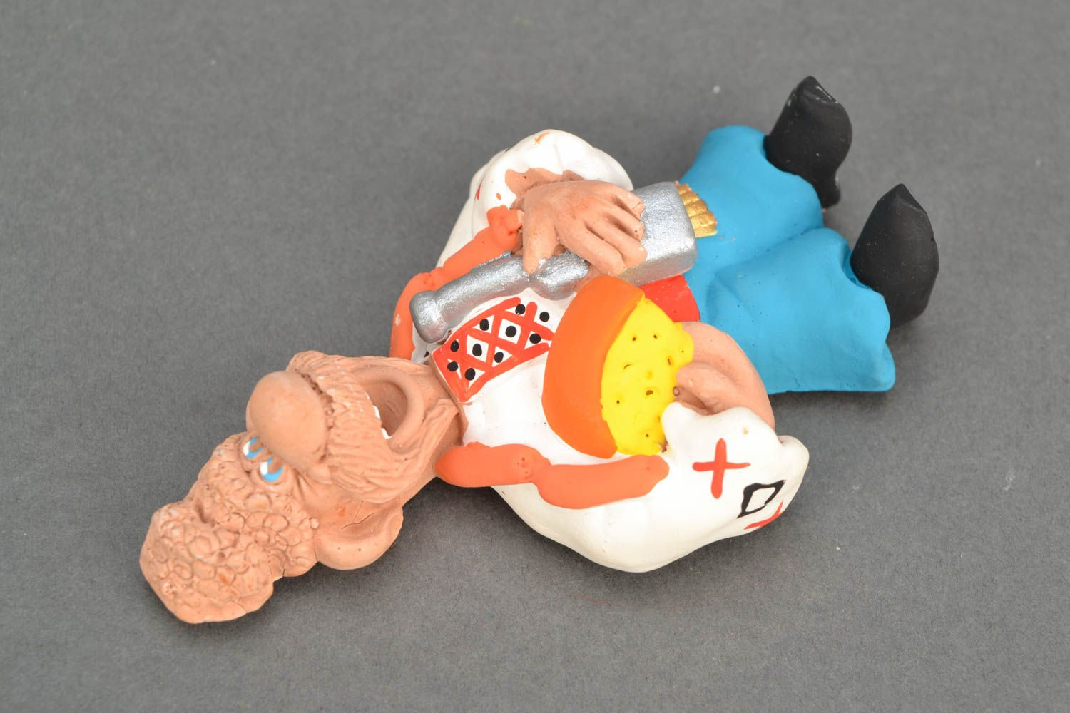 Clay fridge magnet Cossack with Cheese and Sausages photo 3