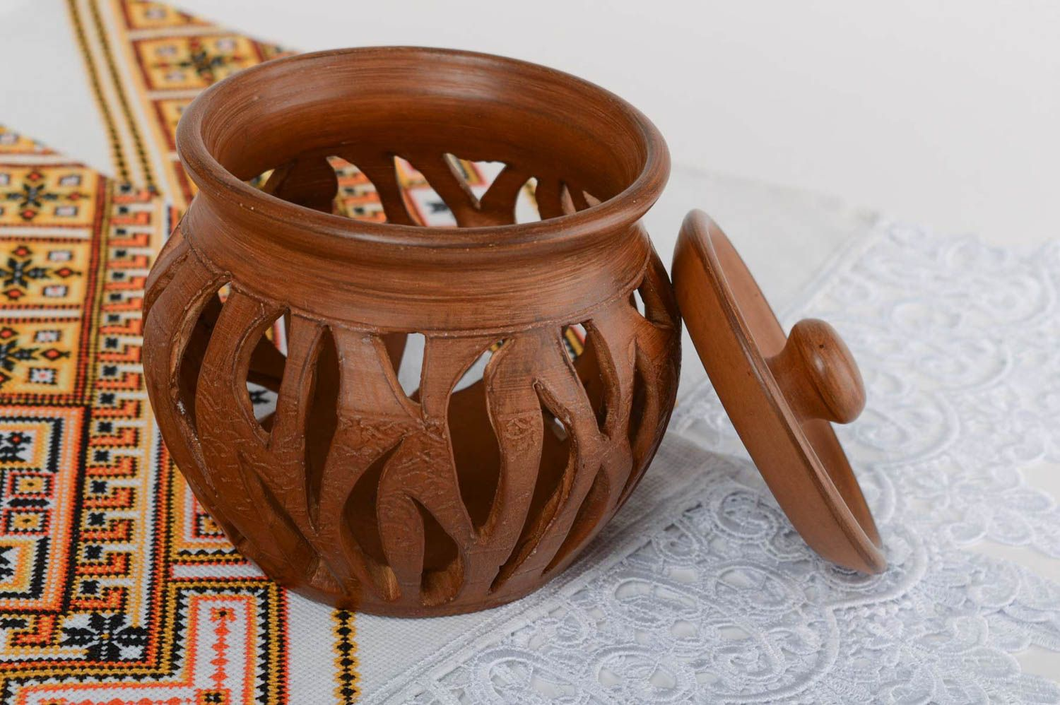 Brown handmade designer large terracotta clay aroma lamp with lid photo 1