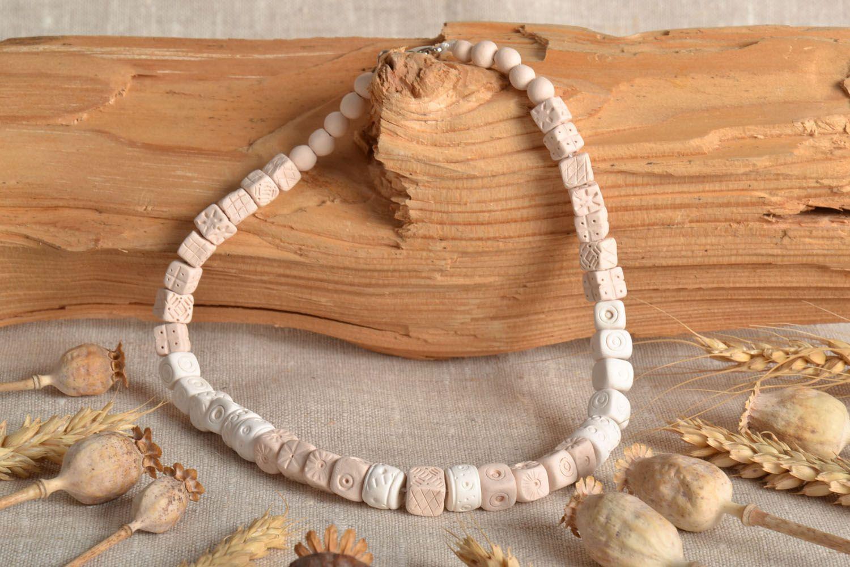 Homemade clay bead necklace photo 1