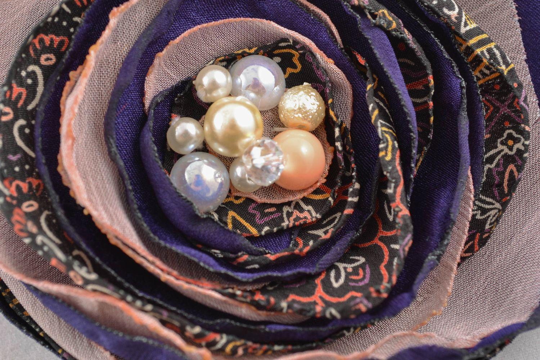 Fabric flower brooch photo 3