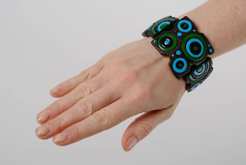 Bracelet en cuir et céramique large multicolore à motif géométrique fait main photo 3