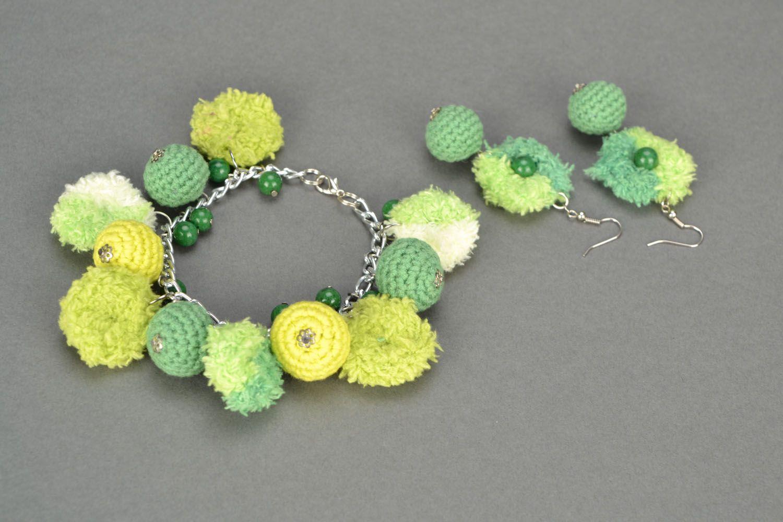 Homemade crochet jewelry set Jade photo 1