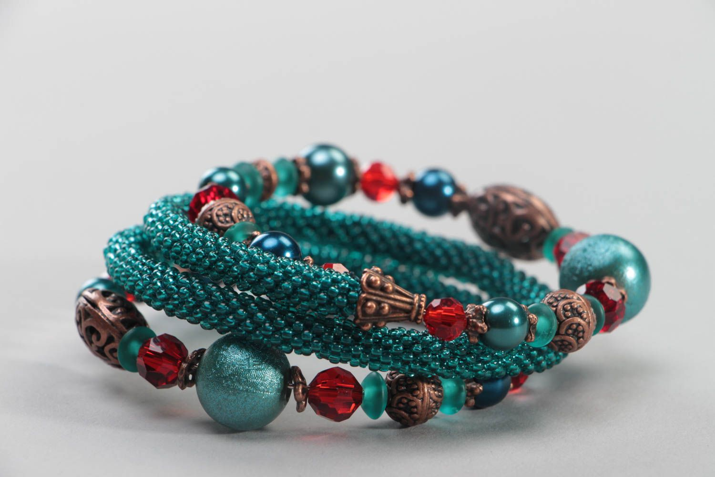 Multirow handmade bracelet unusual beaded accessory beautiful wrist jewelry photo 3