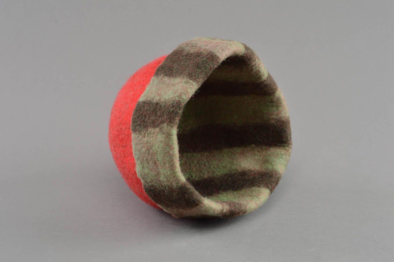 Handmade red felted wool sauna hat designer sauna accessories photo 3