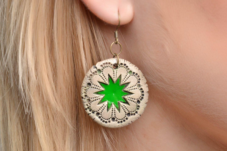 Painted ceramic earrings photo 2