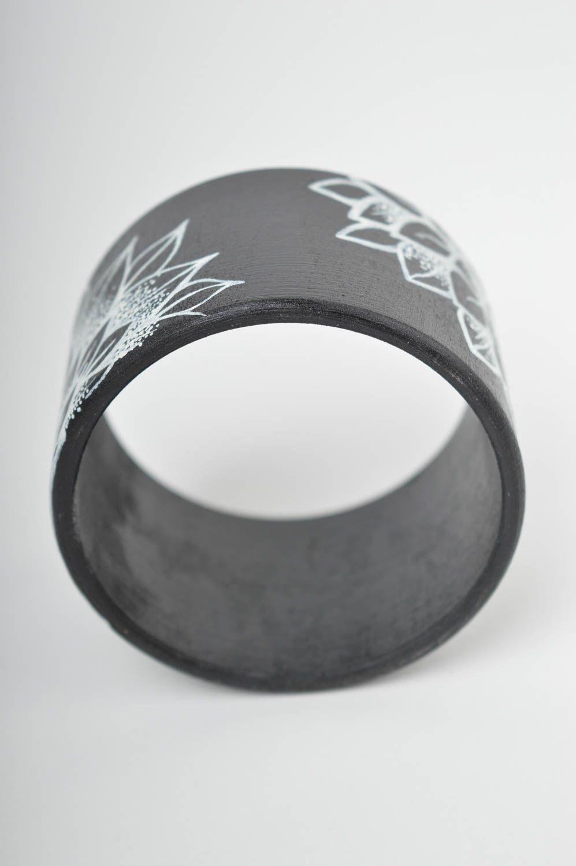 wooden bracelets Black painted bracelet handmade wrist bracelet wooden accessories women jewelry  - MADEheart.com