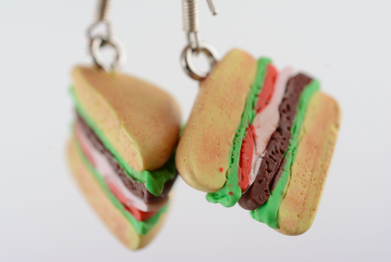 Homemade plastic earrings Sandwiches photo 4