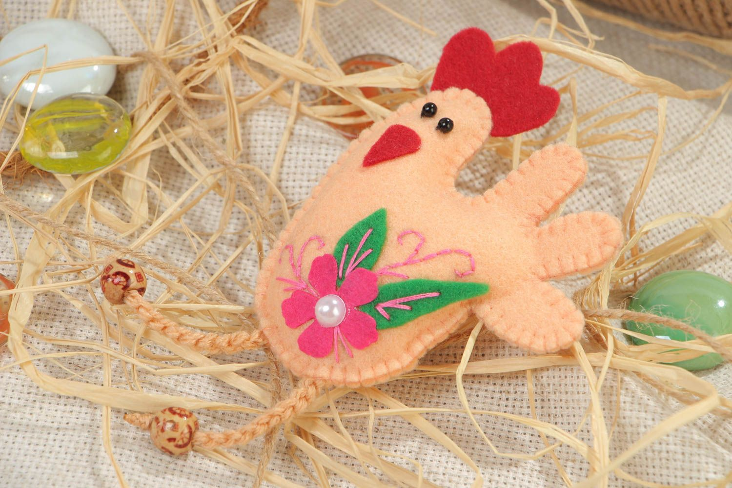 Handmade textile felt fridge magnet with beads Rooster kitchen decor photo 1