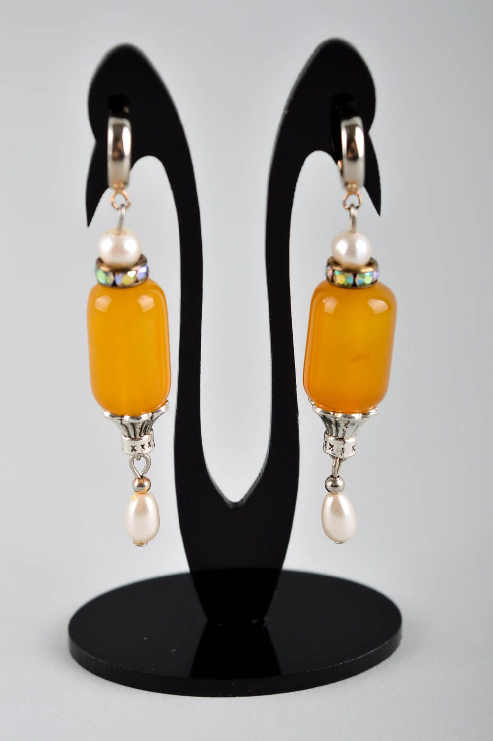 Handmade designer earrings cute earrings with cornelian earrings with charms photo 2