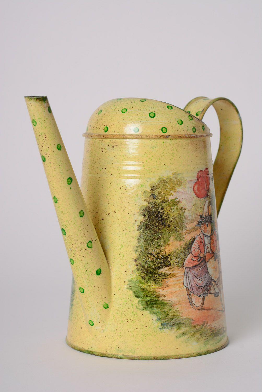 tea pots and coffee pots Handmade decoupage metal watering can with drawing - MADEheart.com
