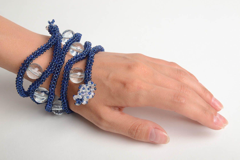 Handmade designer multi row bead woven wrist bracelet Blue Snake for women photo 2