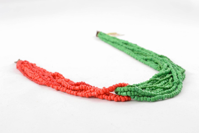 Mehrreihige Halskette aus Glasperlen rot-grün foto 4