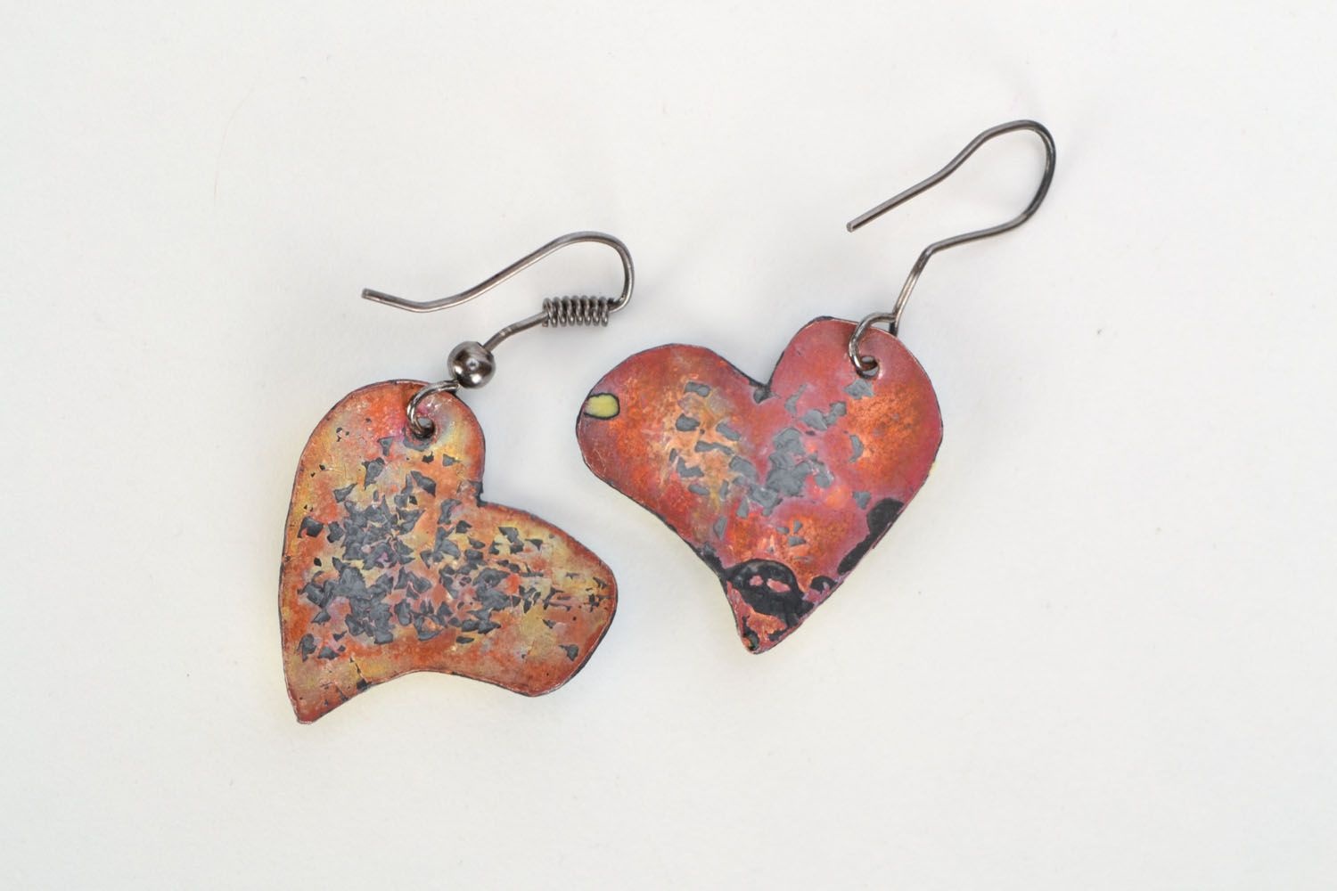 Copper heart earrings  photo 3