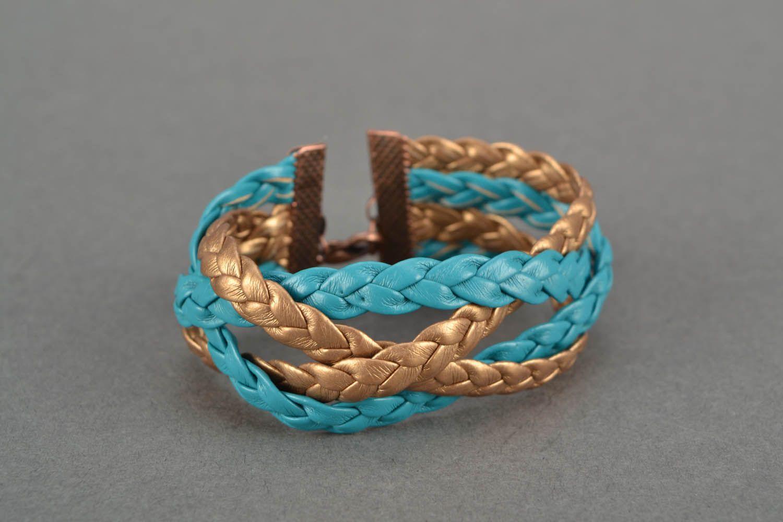 Плетеный кожаный браслет фото 3