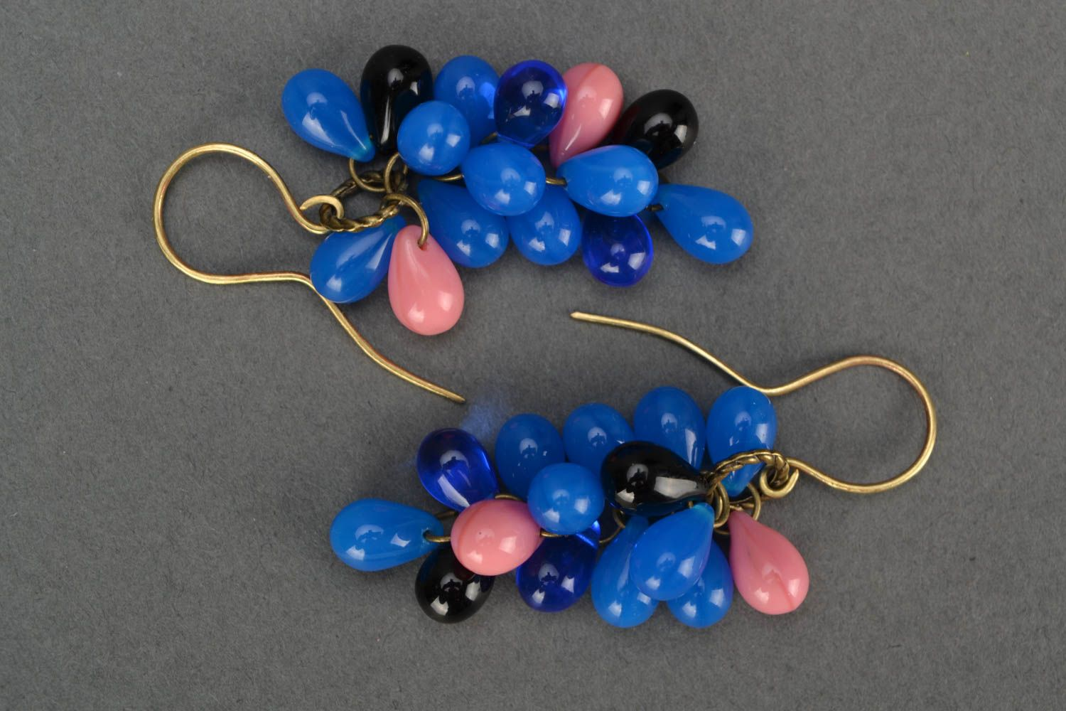 Beautiful blue handmade designer long earrings created of Czech glass photo 3