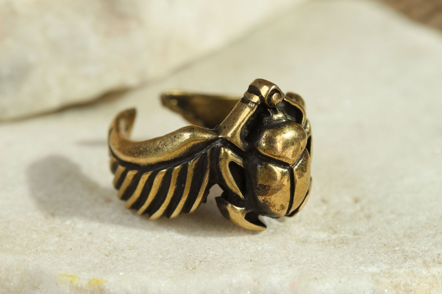 Bronze seal ring Scarab photo 1