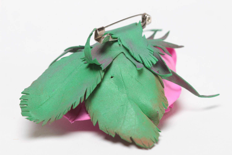 Gentle pink handmade designer foamiran fabric flower brooch Rose photo 4