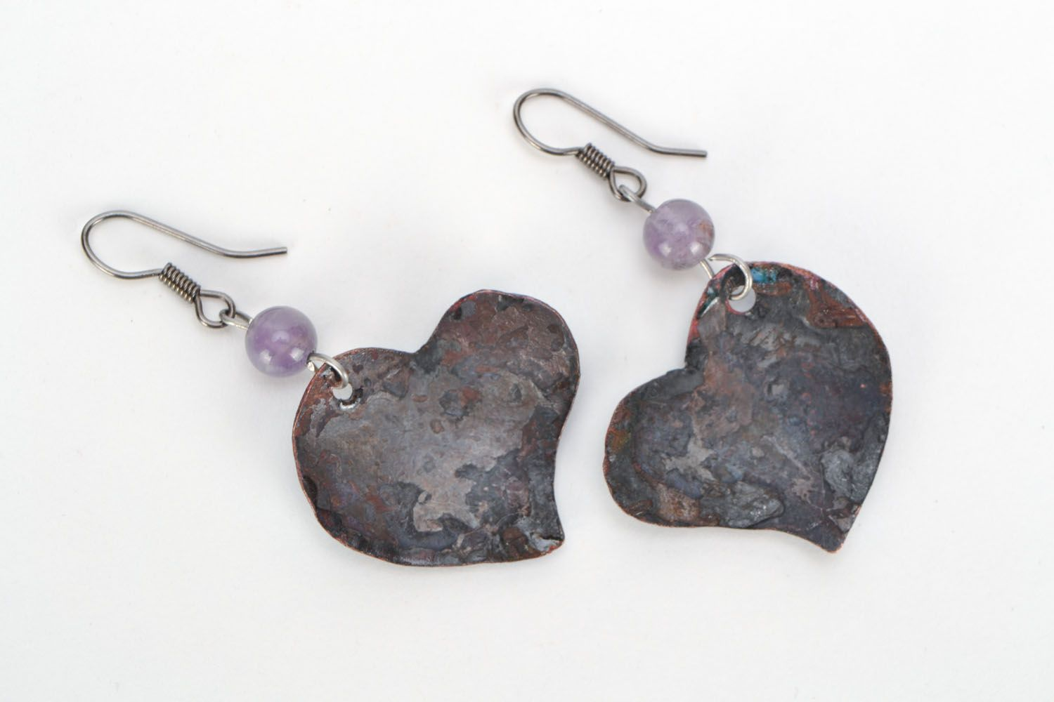 Dangling earrings with copper photo 3
