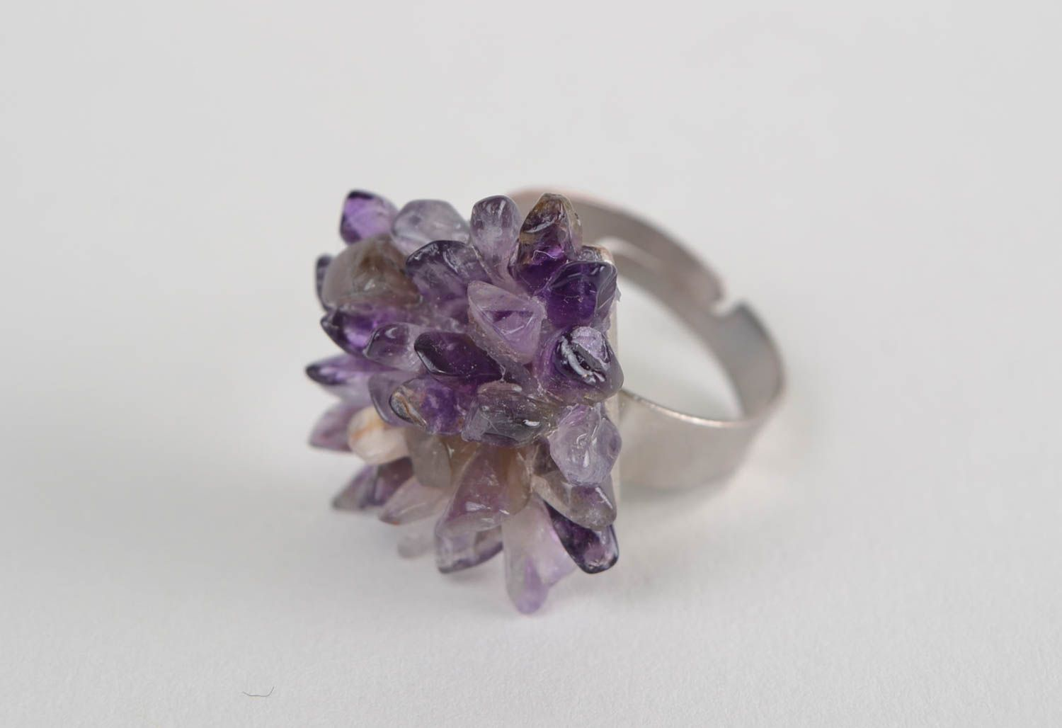 Square-shaped ring with natural stone amethyst beautiful handmade accessory photo 3