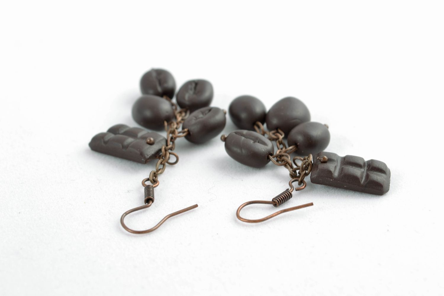 Earrings with polymer clay charms Coffee Chocolate photo 2