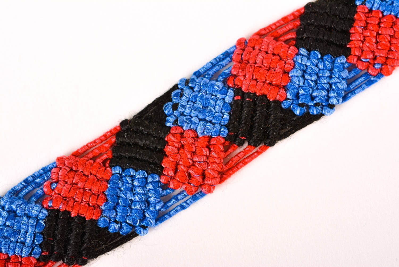 Браслет ручной работы браслет из ниток модный браслет сине красно черный  фото 4