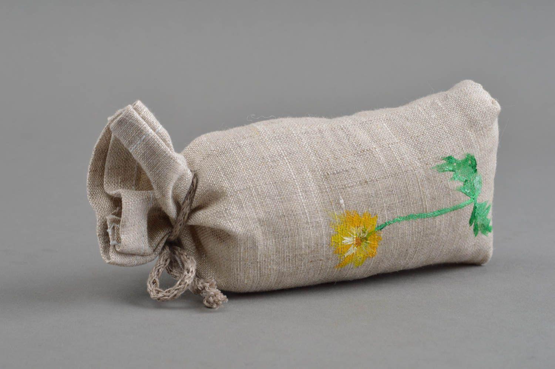 Handmade cushion small sachets pillow natural linen painted dandelion home decor photo 3