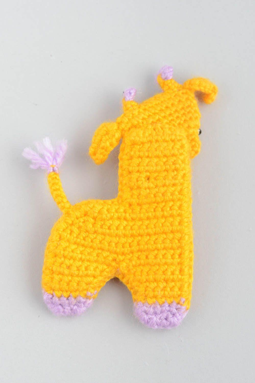 Handmade decorative soft crocheted magnet toy yellow Giraffe with flowers  photo 3