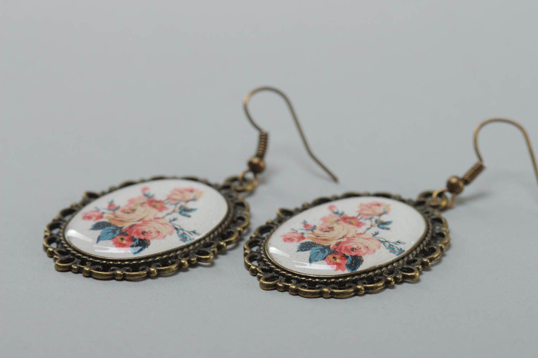 Ovale schöne handmade Ohrringe aus Kaltglasur im Vintage Stil mit Blumen handmade foto 3