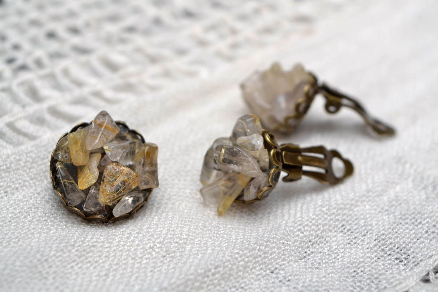 Earrings and ring with quartz photo 1