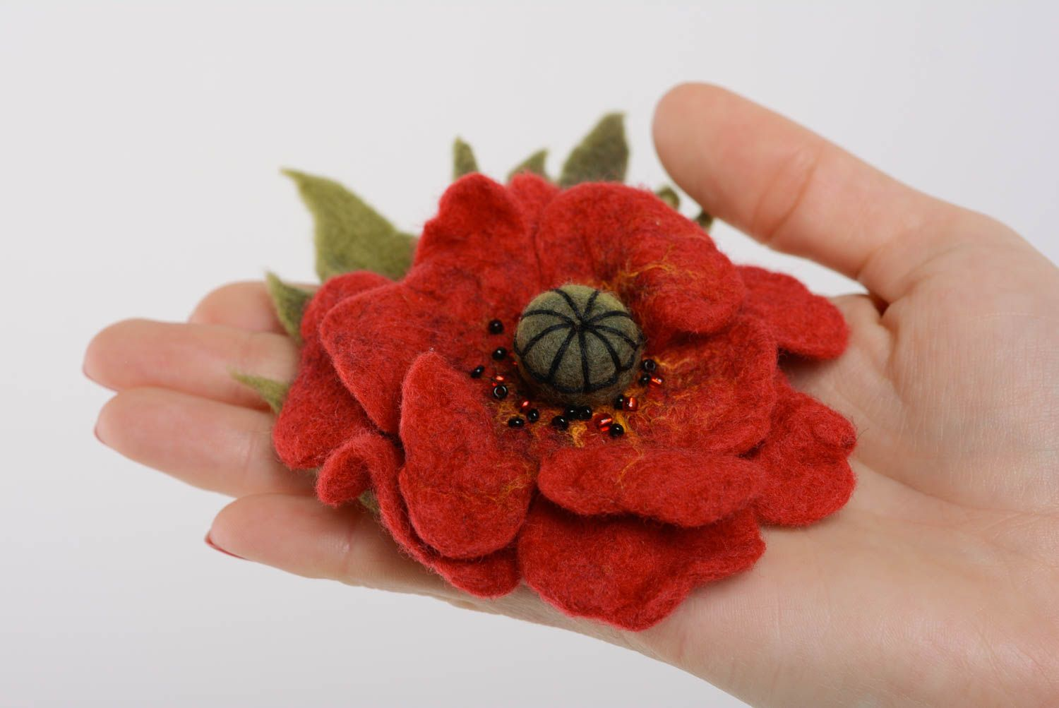 Handmade flower brooch wool felting technique large beautiful accessory photo 4