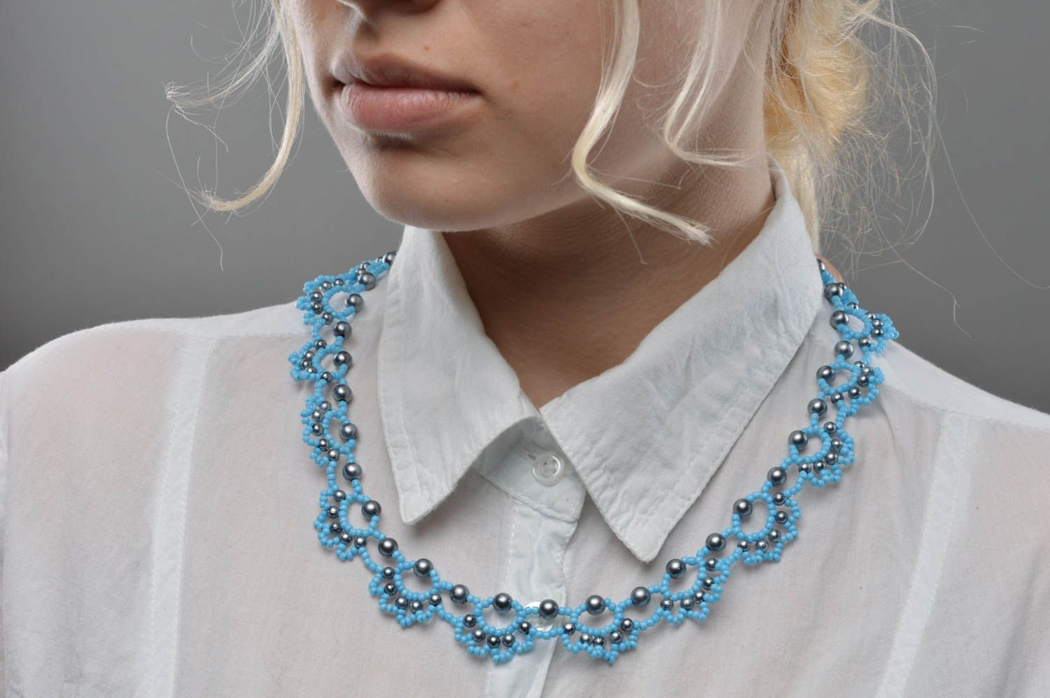 Female handmade blue necklace made of seed and large beads summer jewelry photo 5