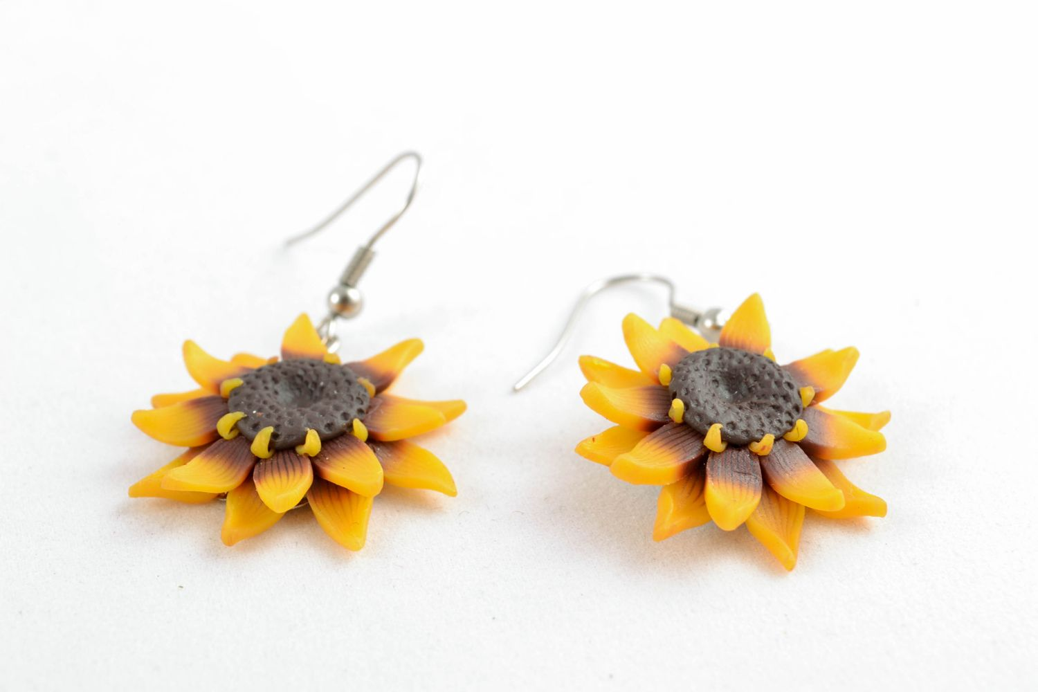 Polymer clay earrings in the shape of sunflowers photo 3