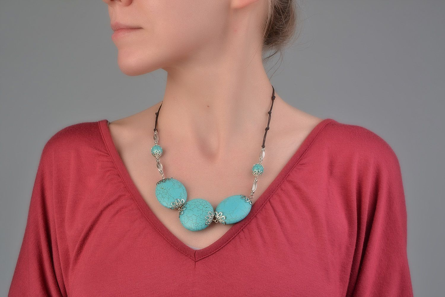 Handmade designer women's necklace with natural turquoise and on waxed cord  photo 1
