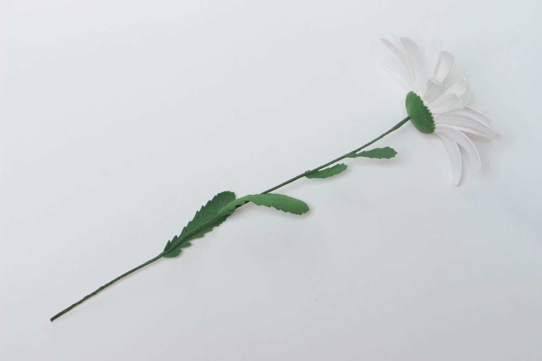 Unusual handmade decorative flower created of plastic suede Camomile photo 3