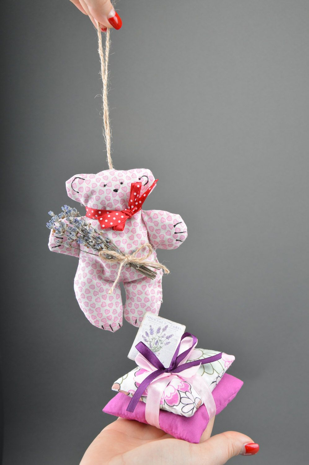 Set of handmade sachet pillows with herbs and soft fabric toy bear 3 items photo 4