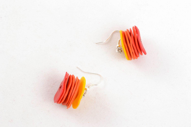 Handmade polymer clay earrings Pieces of the Sun photo 5