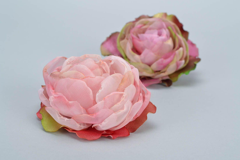 Madeheart juego de dos broches para el pelo artesanales - Flores de telas hechas a mano ...