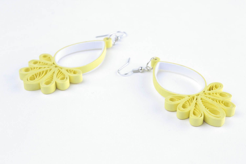Long paper dangle earrings photo 4