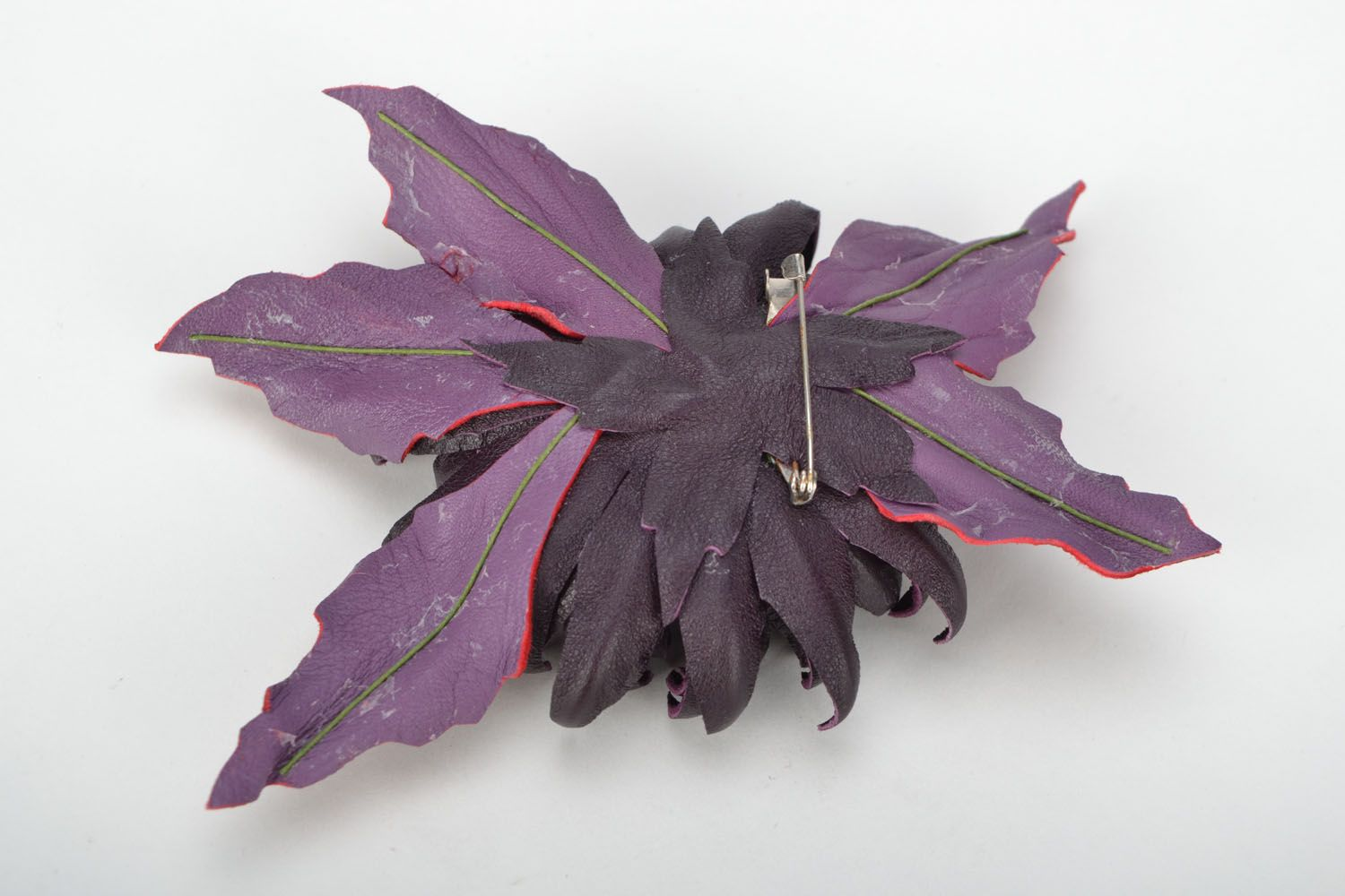Leather brooch Aster photo 5